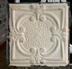 "12"" Antique Tin Ceiling Tile - Rusty Cream Paint with Pretty Design --- A3"