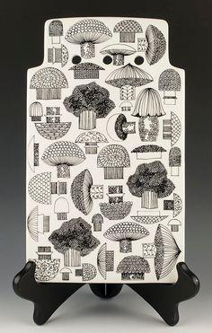 Kaj Franck for Arabia Finland Ceramic Mushroom Tile Cutting Board, Signed Mid-Century Stoneware Tray/Trivet, Black & White MCM Pottery Decor