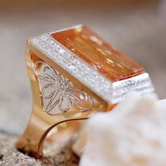 If you're reading this, this could be your butterfly moment  Platinum Butterfly set in 18k yellow gold topped with citrine and diamond, handmade by Ricardo Basta Fine Jewelry | Butterfly ring, citrine cocktail ring, statement ring