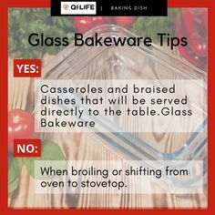 Baking a lasagna? A pie? A roast? When you are choosing a pan to bake or roast your food, the pan you reach for shouldn't just be the first one you can grab, regardless of the material, because some materials great for certain situations and terrible for others. Here are some Tips that you should know when using Glass Baking Dish. Glass Baking Dish, Bakeware, Lasagna, Roast, Pie, Dishes, Food, Torte, Cake
