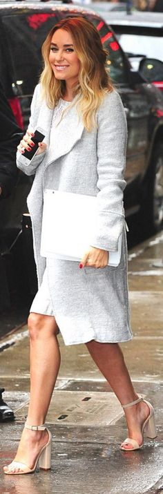 Who made Lauren Conrad's gray coat, tan dress, and nude sandals?