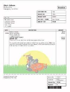 free printable lawn service contract form (generic) | sample, Invoice examples