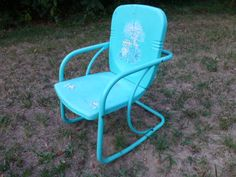 Metal chair - teal with decal design