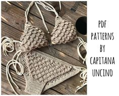 This listing is PDF CROCHET PATTERN for Ariella Mermaid Bikini Top and Bottom with side ties, NOT finished item:) Skill level: EASY, INTERMEDIATE You should know the basic stiches: chain stitch, single crochet, slip stitch, double crochet. All the other sticthes used in the pattern are