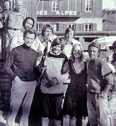 Clint Eastwood with film crew, Messner and Peter Habeler after 10 hours record on Eiger