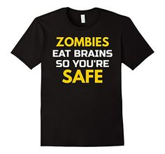 Mens Zombies Eat Brains Sarcasm Humor T Shirt 2XL Black