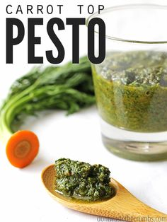 Delicious carrot top pesto recipe allows you to use any nut you want & tastes amazing. Naturally vegan, and a great way to avoid throwing those tops away!