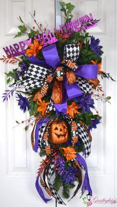 Happy Halloween 2 Teardrop Swag by Gaslight Floral Design. http://GaslightFloralDesign.com