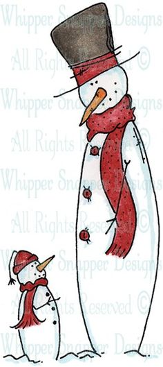 Short & Tall Snowman - Snowmen Images - Snowmen - Rubber Stamps