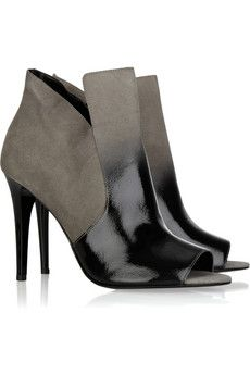 Diane Von Furstenberg Ombré patent-leather and suede ankle boots