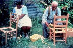 Rufus Adams and step-daughter Annie Sellers making corn shuck chairs