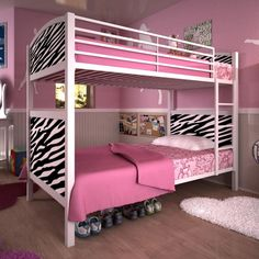 Girlu0027s Bed With #Zebra Print Panels