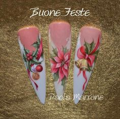 Paola Marrone Christmas Nails, French, white