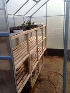 Inside shelving ideas for your 6x8 greenhouse!