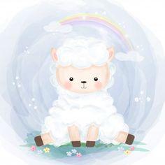 Cute little lamb illustration Premium Ve. Hirsch Illustration, Cute Animal Illustration, Watercolor Illustration, Animal Nursery, Nursery Art, Elephant Background, Baby Animals, Cute Animals, Baby Elefant
