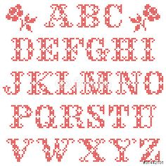 Vector: Set Of Alphabetic Characters Cross Stitch Red