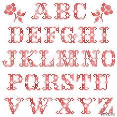 Cross stitch alphabet patterns free alphabet generator alphabet vector set of alphabetic characters cross stitch red spiritdancerdesigns Gallery