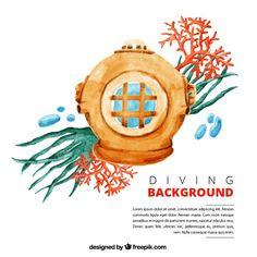mergulhador da aguarela com algas fundo Vetor grátis