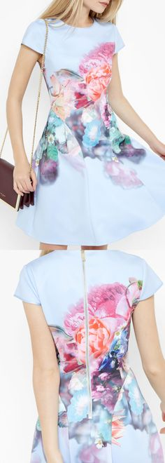 2b0c4bb4982a4f The prettiest powder blue Ted Baker dress is now reduced to only £89.00!!!  Ted s Focus Bouquet print