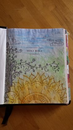 Faithfully Mapping My Way: paint & praise post about using music and art to connect with worshiping God. Title page (front page) of my journaling Bible with a zentangle style sun tree and sky, with watercolors. Scripture Study, Bible Art, Book Art, Christian Crafts, Christian Life, Oldest Bible, Bible Illustrations, New Bible, Worship God