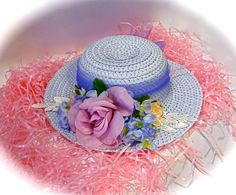 Girl's Tea Party Hat Easter Bonnet Blue Flower by Marcellefinery