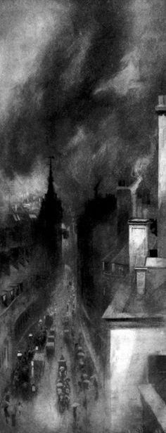 William Hyde, Rain, Smoke and Traffic, photogravure, 1898 Watercolor Landscape, Landscape Paintings, Watercolor Paintings, Illustrations, Illustration Art, Artist Sketchbook, English Artists, City Landscape, Dark Matter