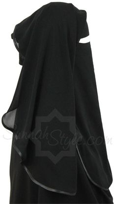 Satin Trimmed Two Piece Niqab (Black) by Sunnah Style #SunnahStyle #niqabstyle #niqaab