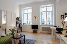 Apartment Floor Plans: Apartment Floor Plans With Two Windows And Simple Bookcase And Small Television