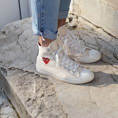 "Converse Chuck Taylor High x Comme Des Garçons Play ""White"" Sock Shoes, Cute Shoes, Me Too Shoes, Set Fashion, Fashion Shoes, Womens Fashion, Fashion Belts, Style Fashion, Baskets Converse"