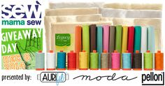 This is the Giveaway event that you will not want to pass up! #Aurifil, Pellon and Moda Fabrics United Notions created a special one of a kind bundle that includes 12 1/2 yard cuts of Bella Solids, 12 matching 50wt Aurifil large spools of thread and a variety pack ( 7 in all) of crib sized Pellon battings!  To read all of the details for this Over the Top Giveaway and to enter to win please visit https://auribuzz.wordpress.com/2014/12/08/sew-mama-sew-giveaway-day/