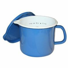 Calypso Basics 1-1/2-Quart Stockpot with Measurements and Lid, Azure by Calypso Basics. $21.00. Matching color lids. Holds 1.5 quarts. Made from enamel-on-steel. Measure, cook, pour and storage capability. Mesurements listed in side on two sides. The Four in One pot has many functions in the kitchen.  Its capacity is 1 1/2 quarts, and can be used to measure foods, you can cook with it as it is stove top safe,  you can use the pour spout to pour out soups or other ...