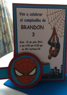 Spiderman invitacion - Visit to grab an amazing super hero shirt now on sale! 4th Birthday, Birthday Parties, Super Hero Shirts, Bouncy House, Ideas Para Fiestas, Avengers, Invitations, Gabriel, Party