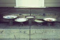 vintage plates glued to crystal cups to make riser plates for dessert