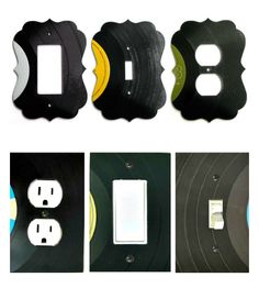 Repurpose Old Records into Switch/Outlet Covers | ReFab Diaries. Use 45s and extend the hole