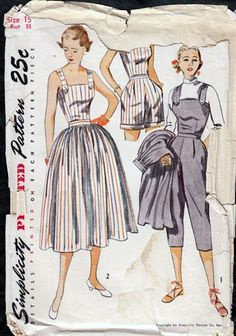 Vintage 1950s Playsuit, Full skirt, Capri Pants, Top Simplicity 3583 | PenelopeRose - Supplies on ArtFire $25 #1950 #fashion, #pattern