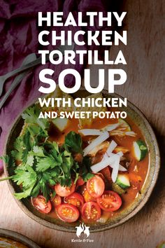 When cooked at home with a ready-made bone broth, chicken tortilla can be an easy, delicious, and alternative to this favorite recipe from restaurants. The is lots of and crispy baked tortillas. Healthy Chicken Tortilla Soup, Bone Broth Soup, Sweet Potato Soup, Good Healthy Recipes, Healthy Food, Cook At Home, Clean Eating Recipes, Soup Recipes, Entrees