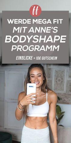 Anne Kissner ist im Bereich Fitness für viele Frauen ein echten Vorbild. Sie ist Topfit und hat eine tolle Figur. Durch Ihre Leidenschaft zur Fitness, hat sie das BodyShape Programm entwickelt. BodyShape richtet sich vor allem an Frauen, die Abnehmen oder Fit werden wollen. #BodyShape Fitness Inspiration, Online Fitness, Fitnesstraining, Health Care, Bra, Fitness Hacks, Super, Tricks, Workout Women