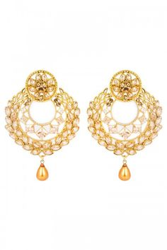 Shop for Latest Designer Earrings online for Girls at lowest price at Andaaz Fashion   http://www.andaazfashion.co.uk/jewellery/earrings/crystal-studded-jhumka-earrings-80742.html
