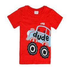 Sale 30% (5.99$) - 2015 New Lovely Car Baby Children Boy Pure Cotton Short Sleeve T-shirt Top