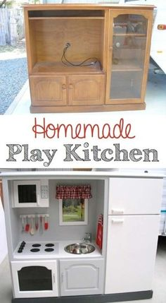 Tv/Media cabinet stand converted to child's play kitchen! Oh shnap!