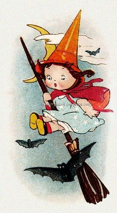 girl witch on broom - vintage Halloween