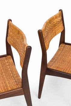 Teak Dining Chairs with Woven Cane in the Manner of Poul Volther image 9