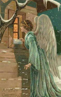 "Beautiful antique angel postcard wishing the recipient ""A Merry Christmas."""