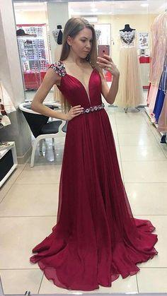 Burgundy chiffon long prom dress, burgundy evening dresses