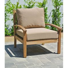 Willow Creek Designs Huntington Club Chair with Cushion Fabric: Canvas Teak