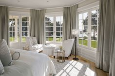 gray bedroom, dream, bay windows, white, master bedrooms, hous, sitting areas, bedroom windows, curtain