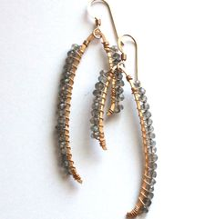 Long dangle earrings. Silver and gold. by ErikasDesignerRocks, $58.00