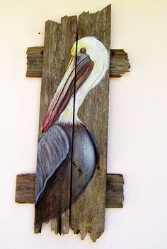 Pelican Hand Painted on Reclaimed Fence Boards (Custom Order Only) TML Period 3 Pallet Painting, Pallet Art, Tole Painting, Painting On Wood, Pallet Ideas, Decoration Palette, Fence Art, Bird Drawings, Beach Crafts