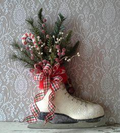 Christmas decor, Decorated Ice Skate, Christmas Ice skate , Wreath, Wall decor,