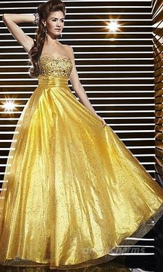 Gold Ball Gown Strapless Empire Long/Floor-length Sleeveless Beading Lace-up Prom Dresses Dress Gold Prom Dresses, A Line Prom Dresses, Prom Dresses Online, Cheap Prom Dresses, Quinceanera Dresses, Strapless Dress Formal, Bridesmaid Dresses, Dress Prom, Dress Long